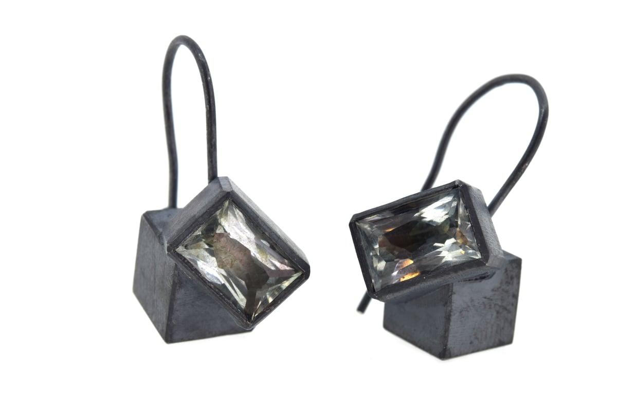 Aquamarine cube studs. Oxidised sterling silver