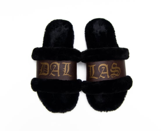 Image of DALLAS BLK/BRW SLIPPERS (NOW SHIPPING)