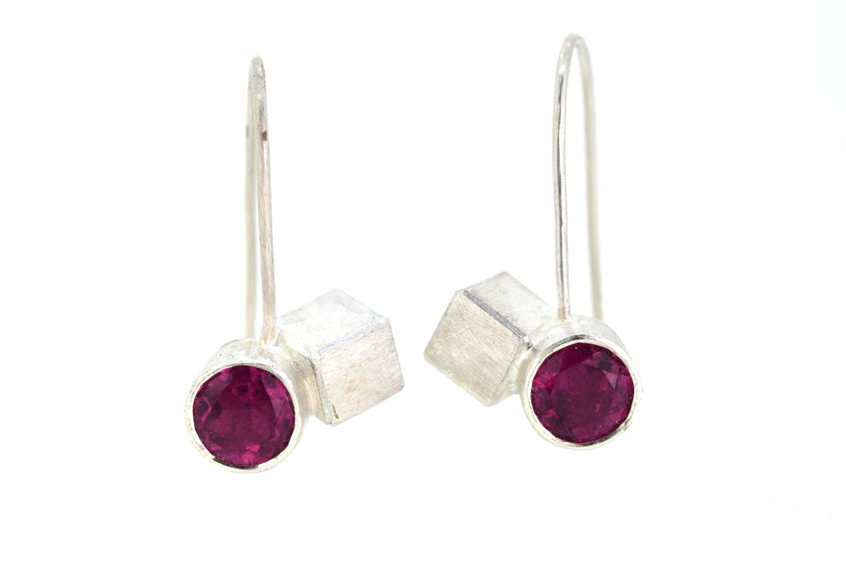 Pink Tourmaline set in sterling silver drop studs