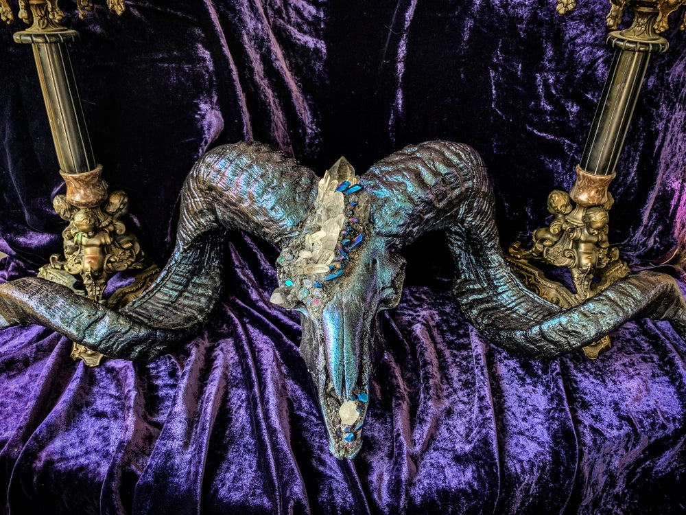 Image of Clear Quartz, Purple/Blue Titanium Quartz, Carborundum & Chalcopyrite- Ram Skull