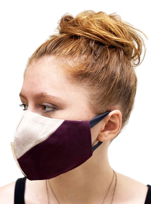 Image of face mask burgundy and ecru