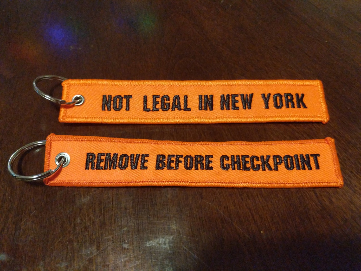 Not Legal in New York Keychain Jet Tag