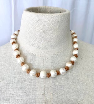 Large Pearl & Leather Choker