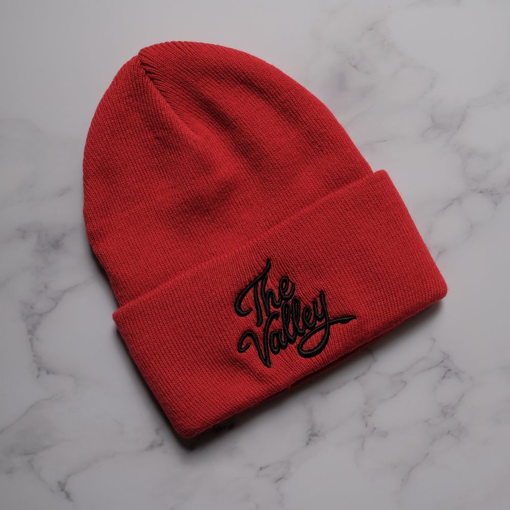 """Black on red """"The Valley"""" beanie"""