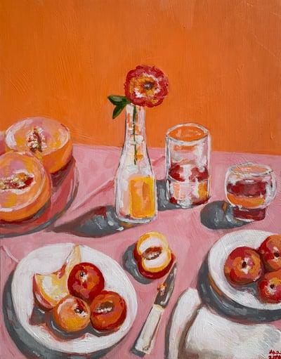 Image of orange & pink painting