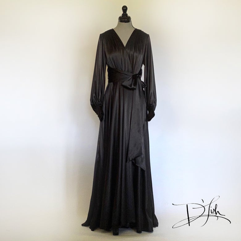 "Image of Black ""Beverly"" Dressing Gown w/ Swarovski Crystal Buttons 30% OFF DISCOUNT CODE: BEVERLY30"
