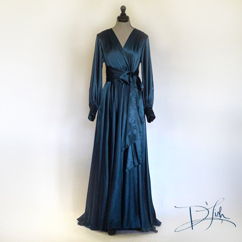 "Image of Deep Teal ""Beverly"" Dressing Gown w/ Swarovski Crystal Buttons"