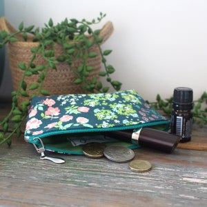 Image of Mini Curved Fabric Purse - Teal Garden