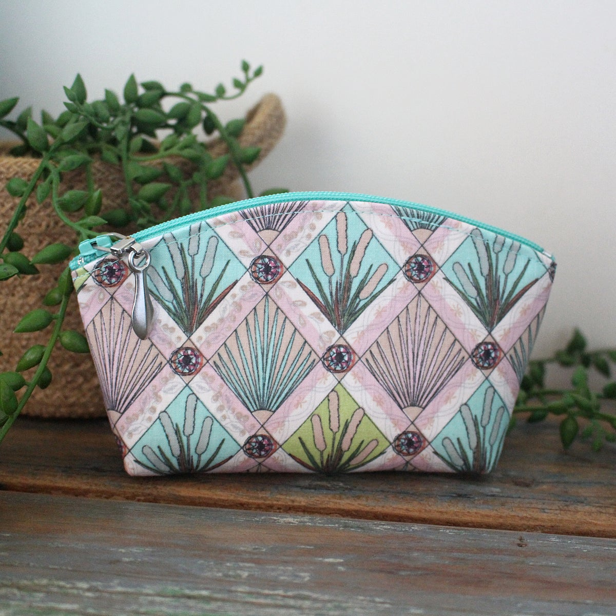Image of Mini Curved Fabric Purse - Aqua Papyrus