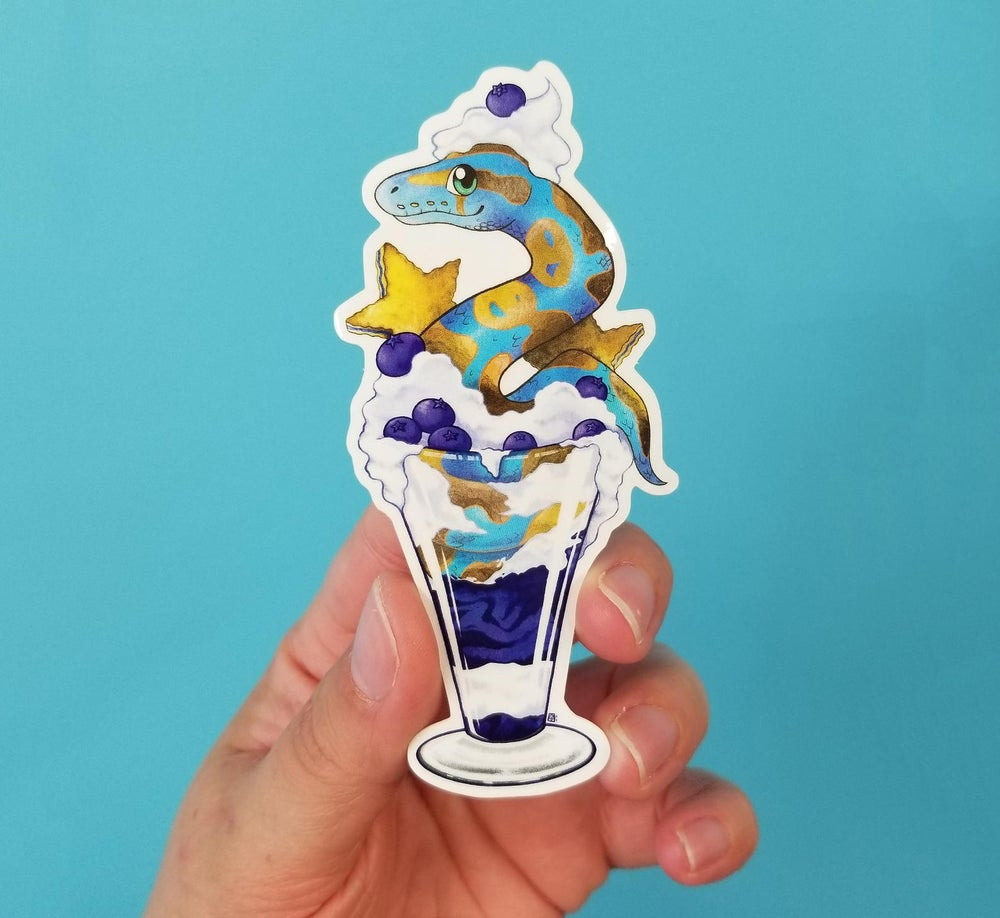 Image of Ball phython in a blueberry parfait waterproof outdoor vinyl sticker decal