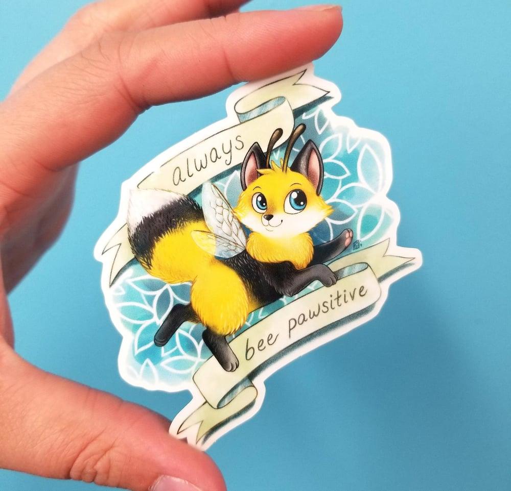 Image of Bumble the foxbee always bee pawsitive waterproof outdoor vinyl sticker decal