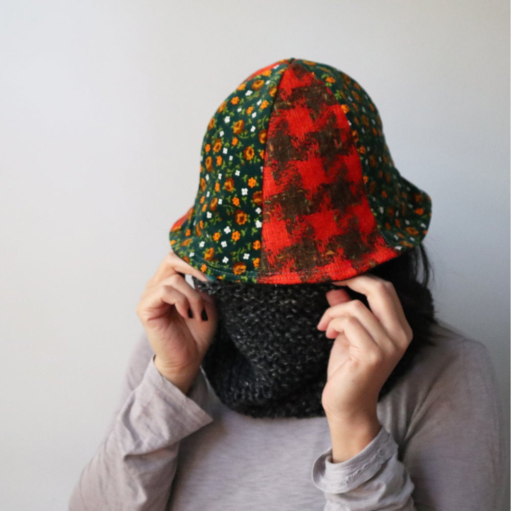 Image of wool and velour tween teen adult vintage fabric six panel bucket hat buckethat courtneycourtney