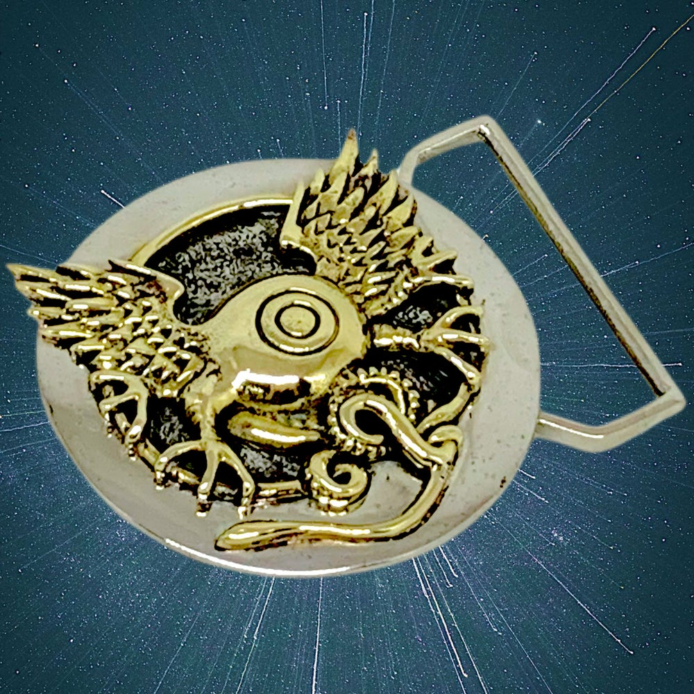 Image of Flying Eye Buckle Cast in White & Yellow Brass