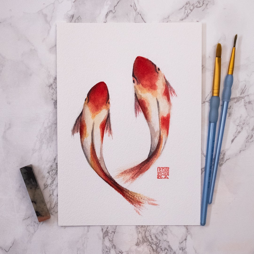 Image of Original Watercolour - Koi