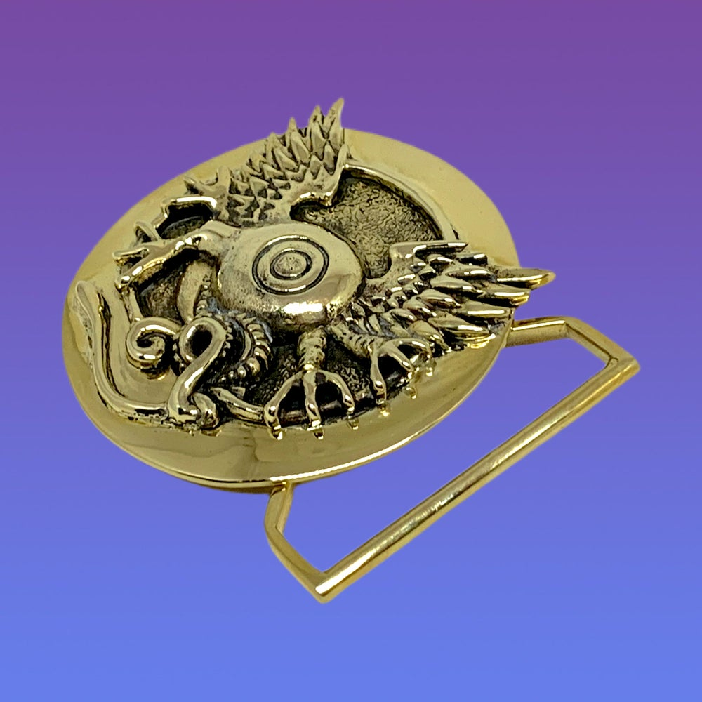 Image of Flying Eye Buckle Cast in Yellow Brass