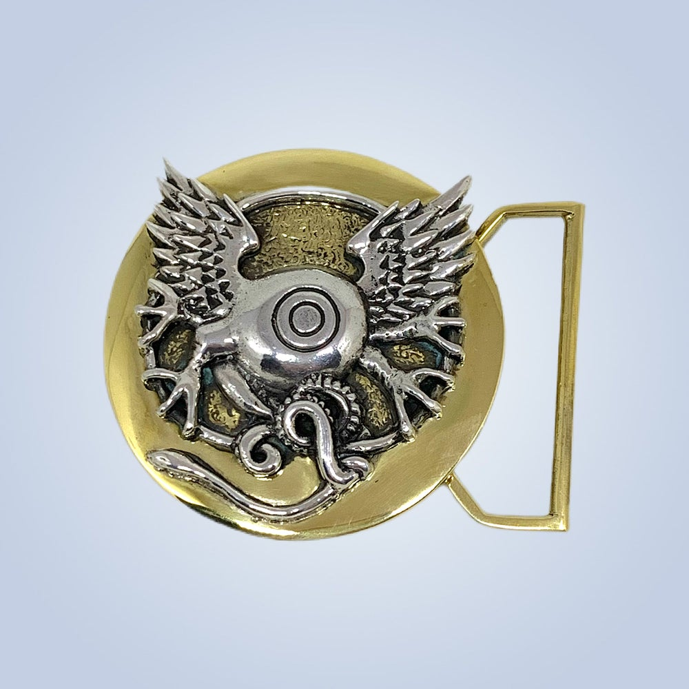 Image of Flying Eye Buckle Cast in Yellow Brass & Sterling Silver Silver
