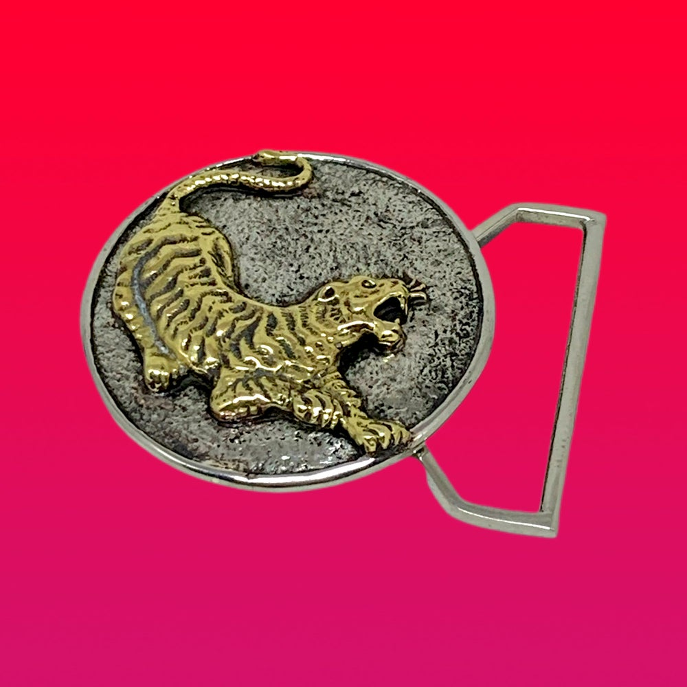 Image of The Tiger Buckle Cast in White & Yellow Brass