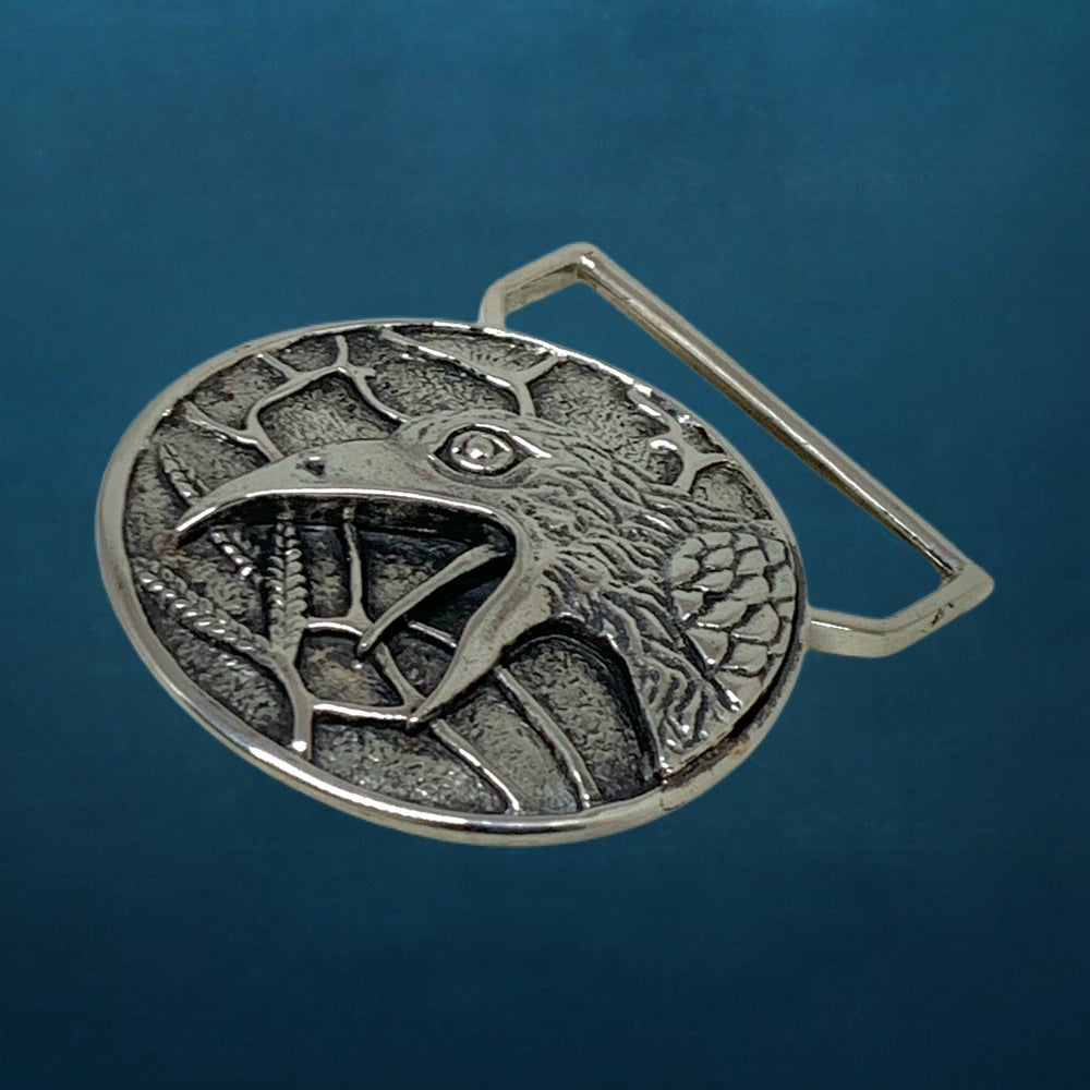 Image of The Raven Belt Buckle Cast in White Brass