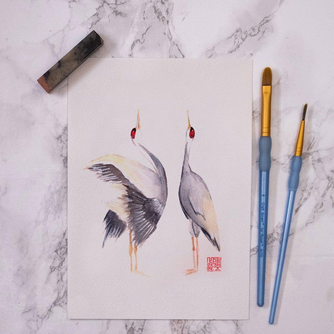 Image of Original Watercolour - Crane Pair (One Off)