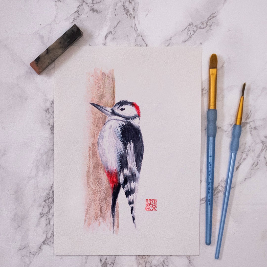 Image of Original Watercolour - Woodpecker (one off)