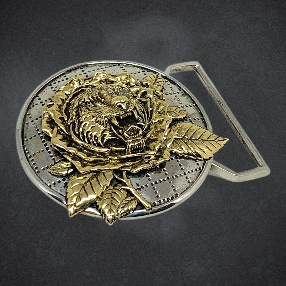 Image of Tiger Rose Inspired Belt Buckle Cast in White and Yellow Brass
