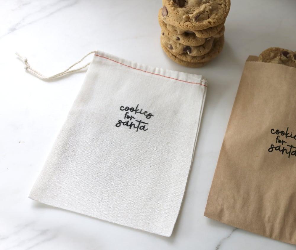 Image of Santa's Cookies Drawstring Treat Bag