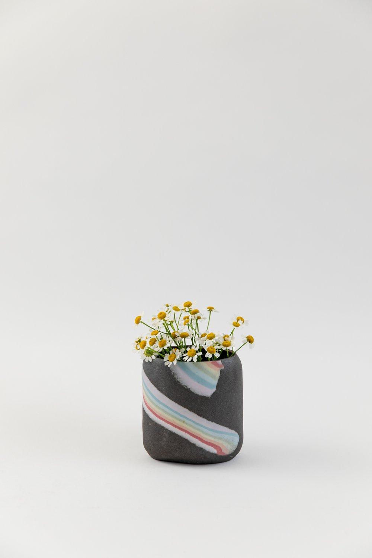Image of Short Oval Inlay Vase - Rainbow on Dark Sky