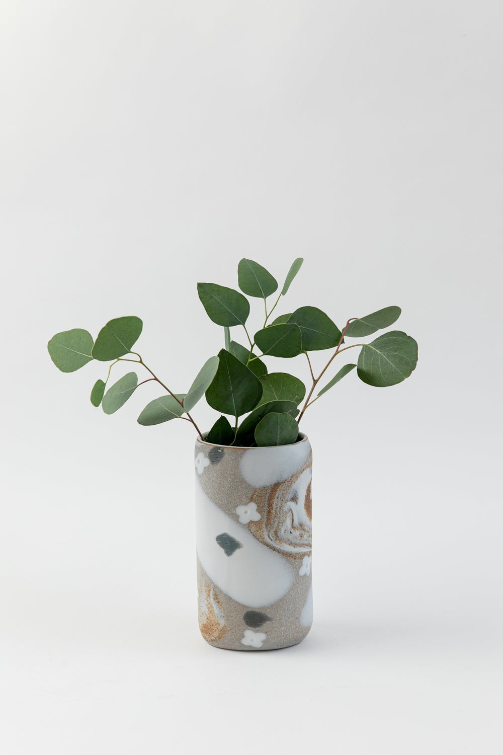 Image of Tall Oval Inlay Vase - White Flower Granite Slate