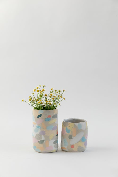 Image of Tall Oval Inlay Vase - Rainbow Camo