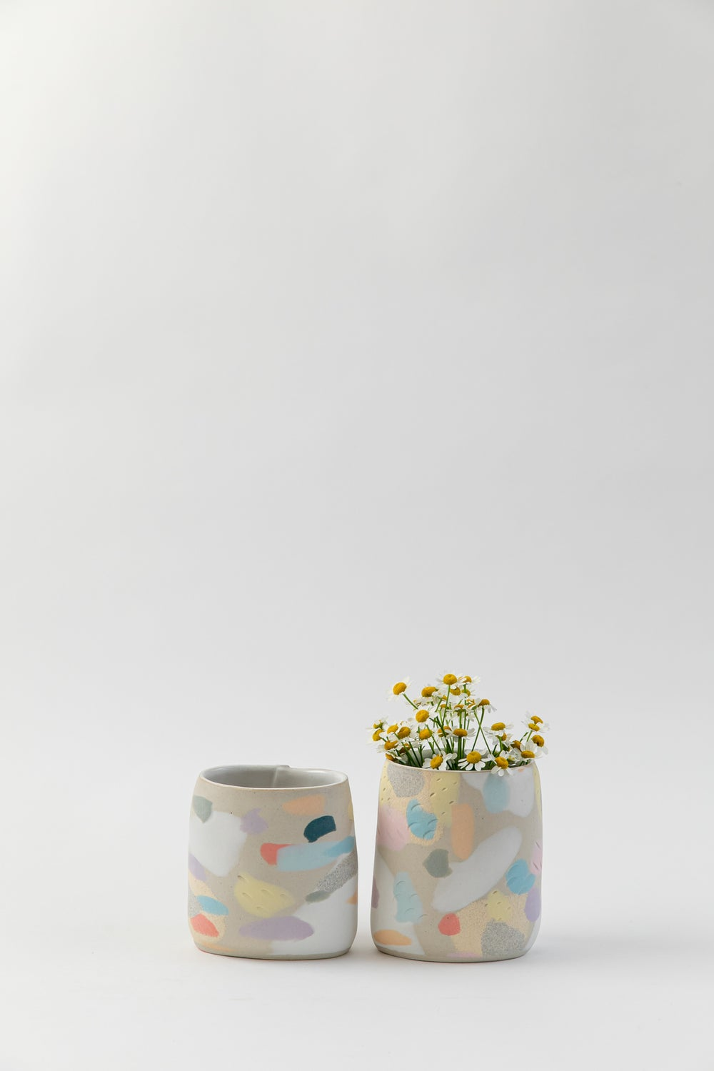 Image of Short Oval Inlay Vase - Rainbow Camo
