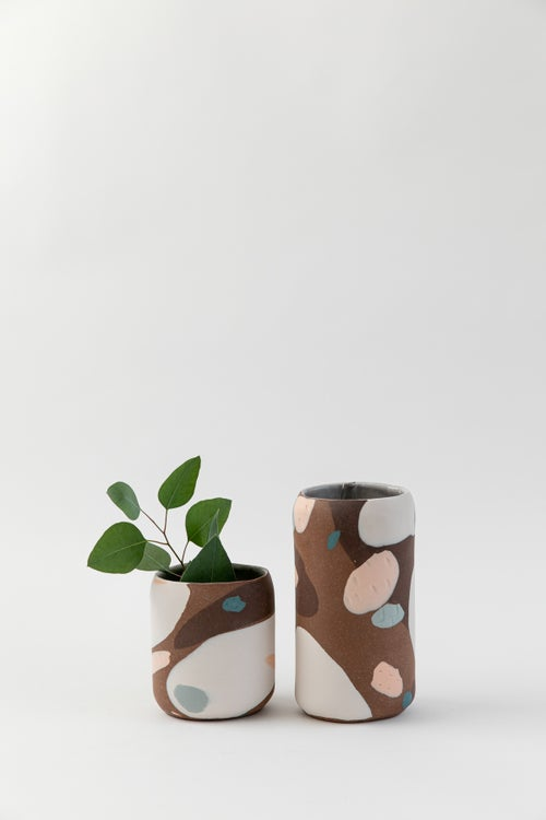 Image of Tall Oval Inlay Vase - Red Mesa
