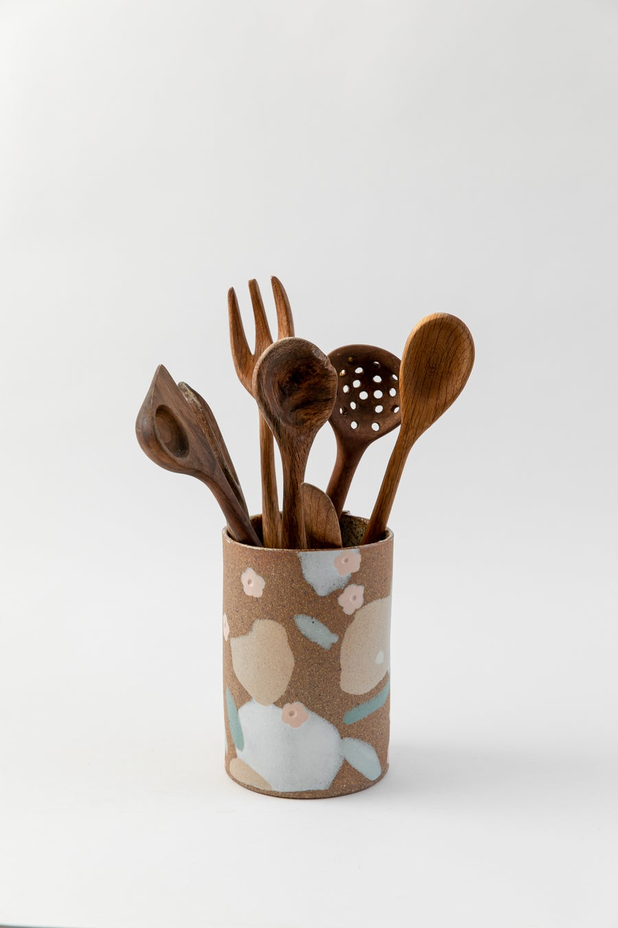 Image of Large Utensil Holder - Desert Sand, Peach Flowers and Sage Leaves