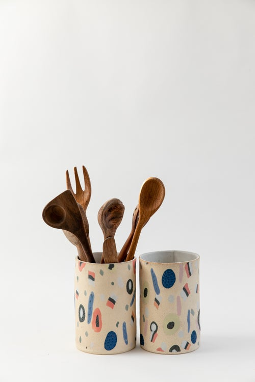 Image of Large Utensil Holder - Soft Yellow Candy All Sorts