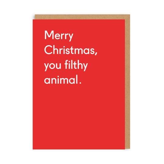 Image of Merry Christmas You Filthy Animal Card