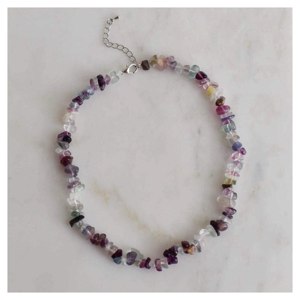 Image of Rainbow Fluorite tumbled stones necklace