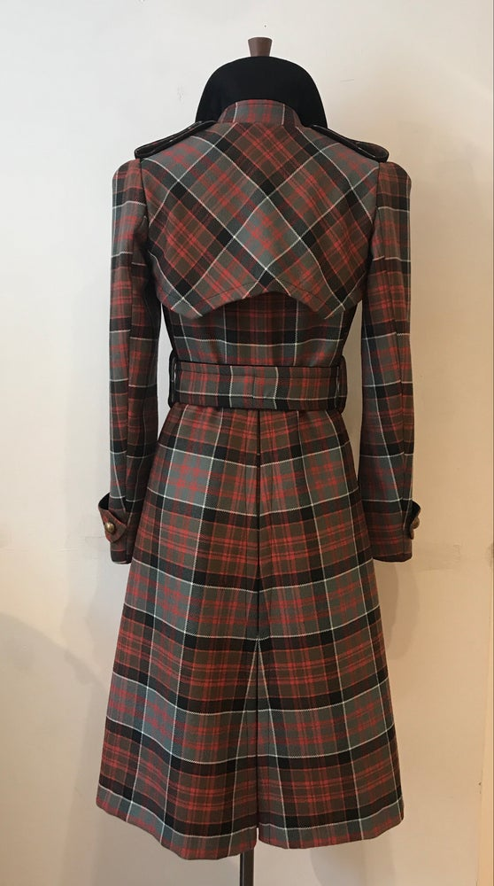 Image of Wool tartan belted trench coat