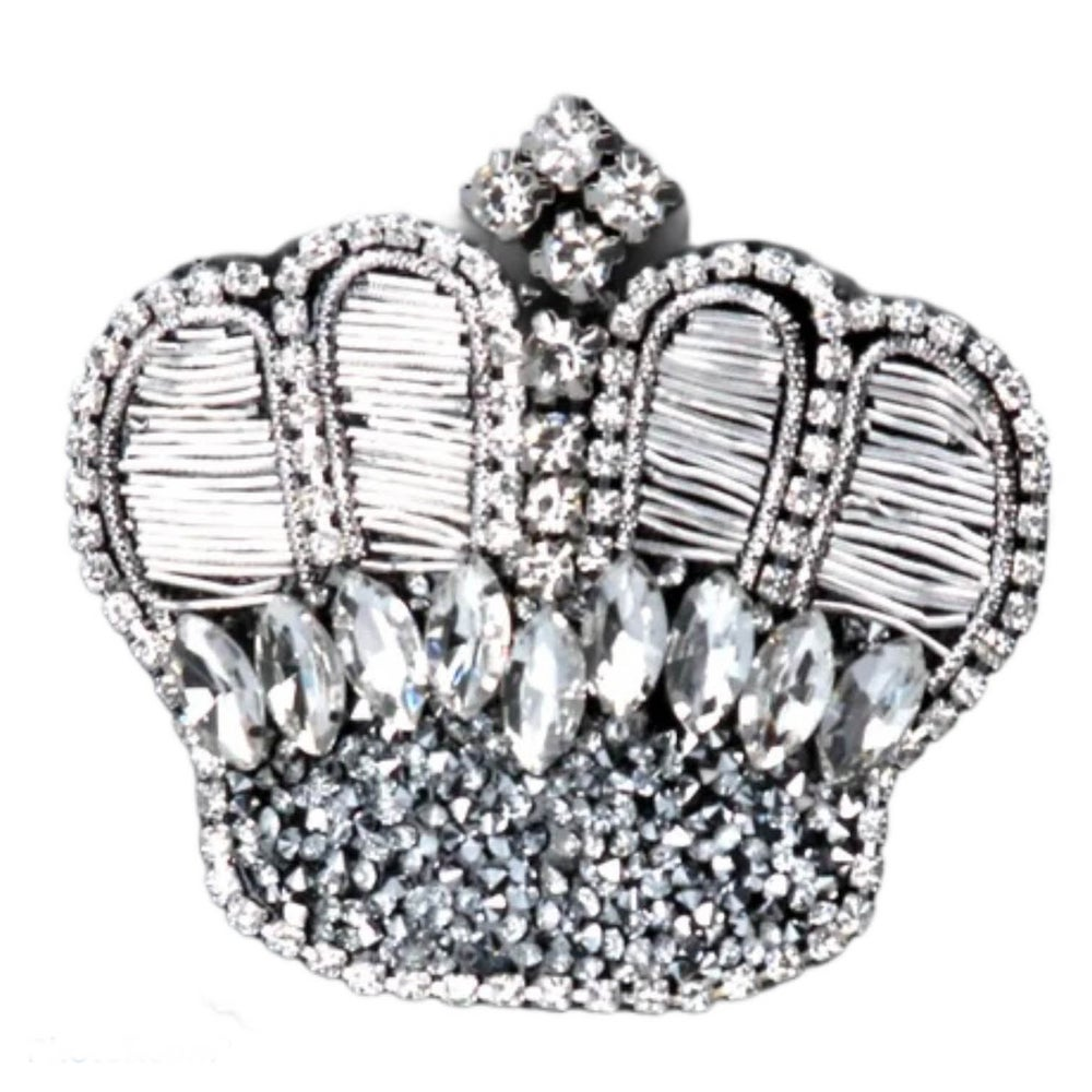 Image of Gisela Graham Diamante Silver Crown Brooch