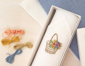 Image of Embroidered Flower Basket Handkerchief