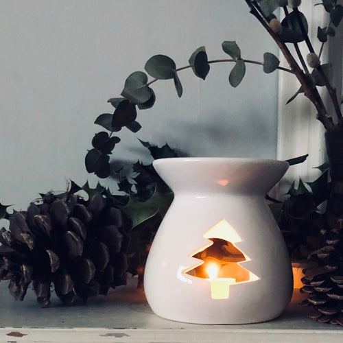 Image of Large Ceramic Wax Melt Burner with Christmas Tree Cut Out Design