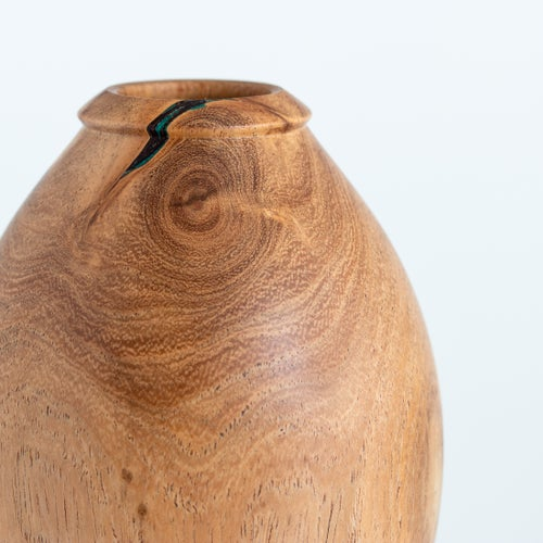 Image of Mesquite Hollow Form with Malachite Inlay