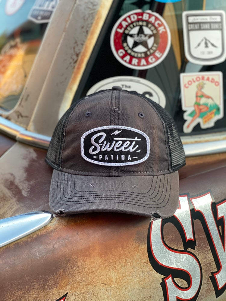 Image of Distressed Black Bolt Patch Hat
