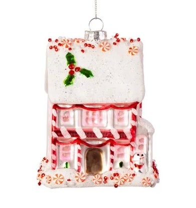 Image of PINK FAIRYTALE GINGERBREAD HOUSE SHAPED BAUBLE