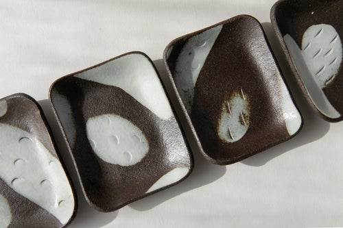 Image of Black and White Porcelain inlay soap dish