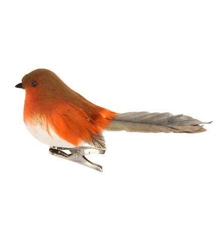 Image of Gisela Graham Feather Robin On Clip Decoration