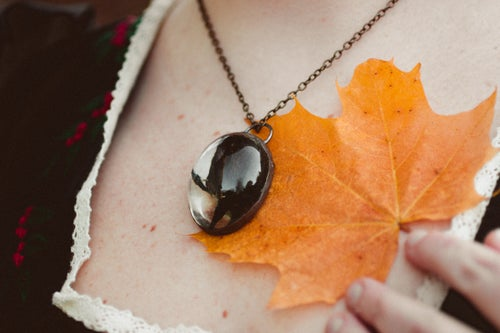 Image of Special Halloween Black Rose Copper Necklace #9