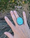 vintage turquoise carved boho ring - huge statement