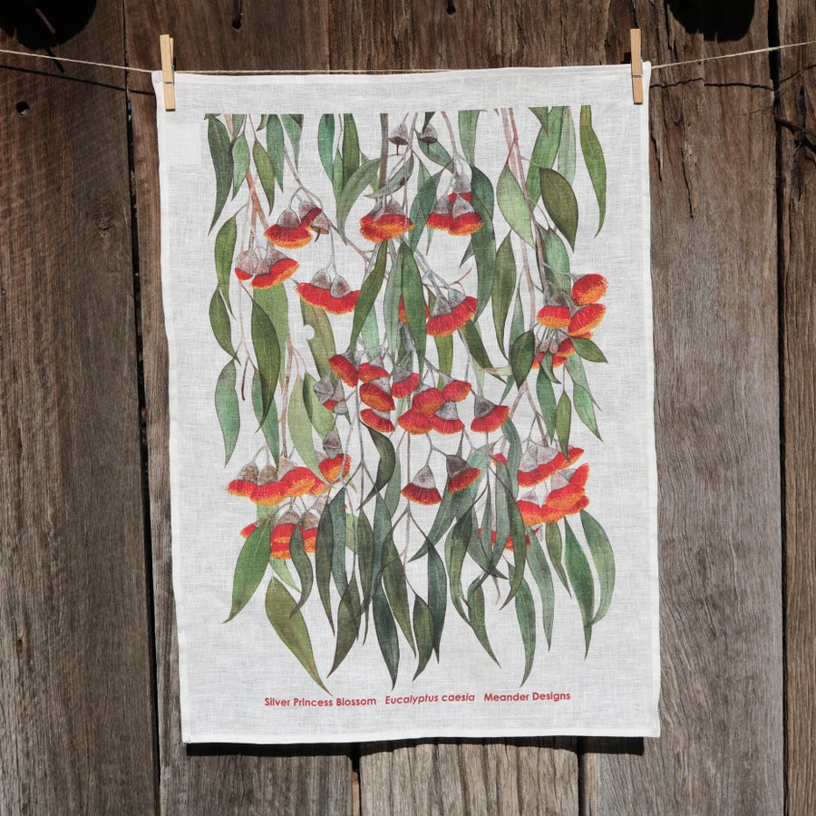 Image of  *Preorder* 25% off RRP $35.00 Silver Princess Blossoms 100% Linen Tea Towel