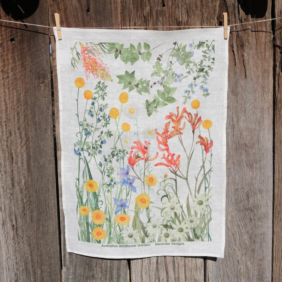 Image of *Preorder* 25% off RRP $35.00 Australian Wildflower Garden 100% Linen Tea Towel
