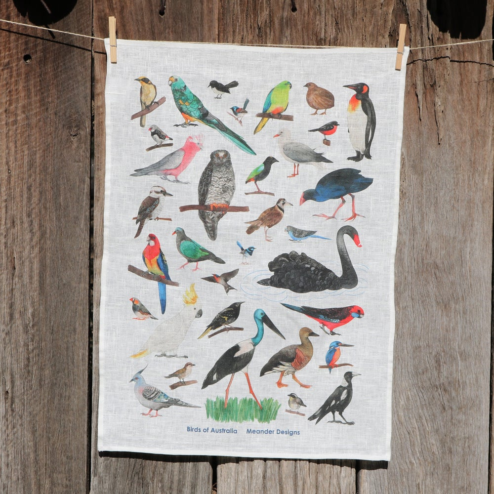 Image of *Preorder* 25% off RRP $35.00 Birds of Australia 100% Linen Tea Towel