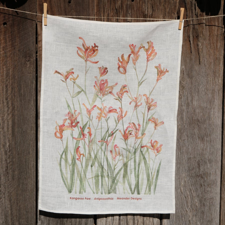 Image of *Preorder* 25% off RRP $35.00 Sunset Kangaroo Paw 100% Linen Tea Towel